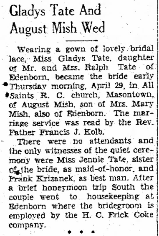 Gladys Tate Wedding