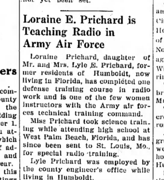 Loraine E. Prichard is Teaching Radio in Army Air Force - committeemen the 1. attendance adjusting aud...