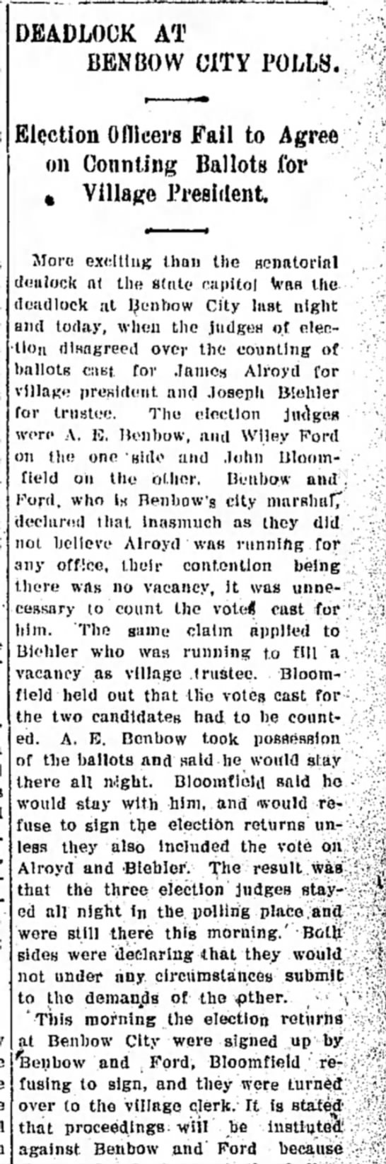 Wiley 21 apr 1909 - DEADLOCK AT BEN BOW CITY POLLS, Election...