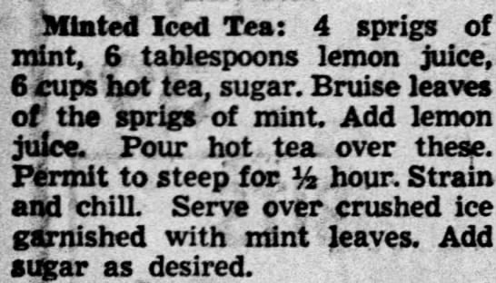 Something to drink, St. Patrick's Day, 1950 - Minted Iced Teat 4 sprigs of mint, 6...