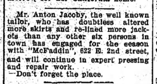 Anton Jacoby September 12, 1907 - Mr. Anton Jacoby, the well known tailor,...