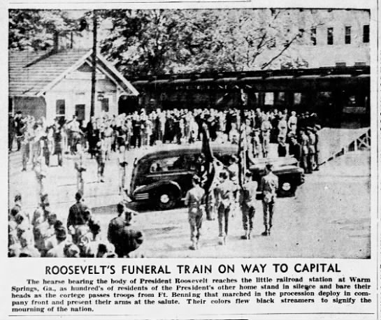 Roosevelt's body moved to funeral train at Warm Springs