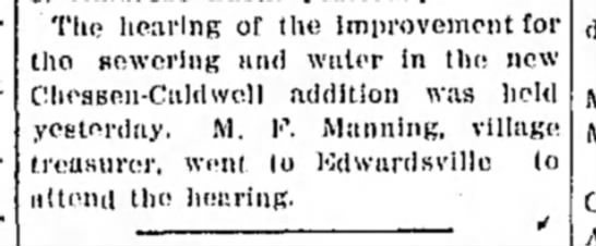 M F Manning - The hearing of the Improvement for tho sowcrlng...