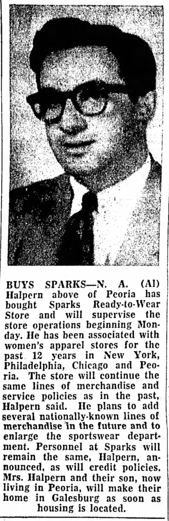 - BUYS SPARKS—N. A. (AI) Halpern above of Peoria...