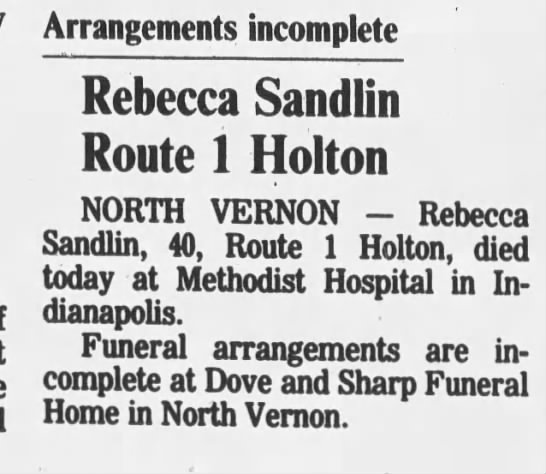 23 May 1988 Rebecca Sandlin - Arrangements incomplete Rebecca Sandlin Route 1...
