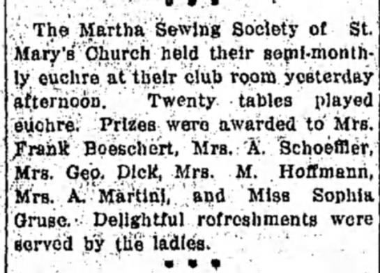 - The Martha Sewing Society of St. Mary's Church...