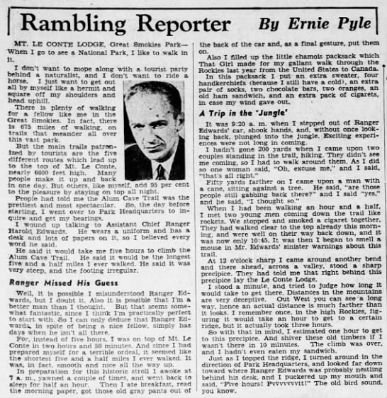 Pyle on hiking the Smokies - Rambling Reporter By Ernie Pyle MT. LE CONTE...
