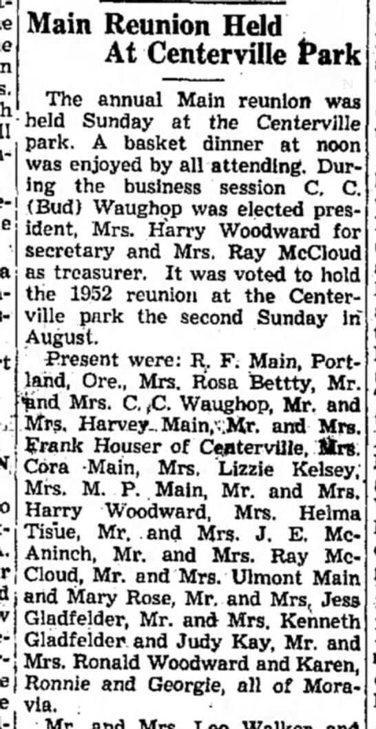 Harry Woodward, Moravia, IA16 Aug 1951