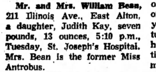 Baby Judith Bean birth announcement - Mr. and Mrs. William Bean, 211 Illinois Ave.,...