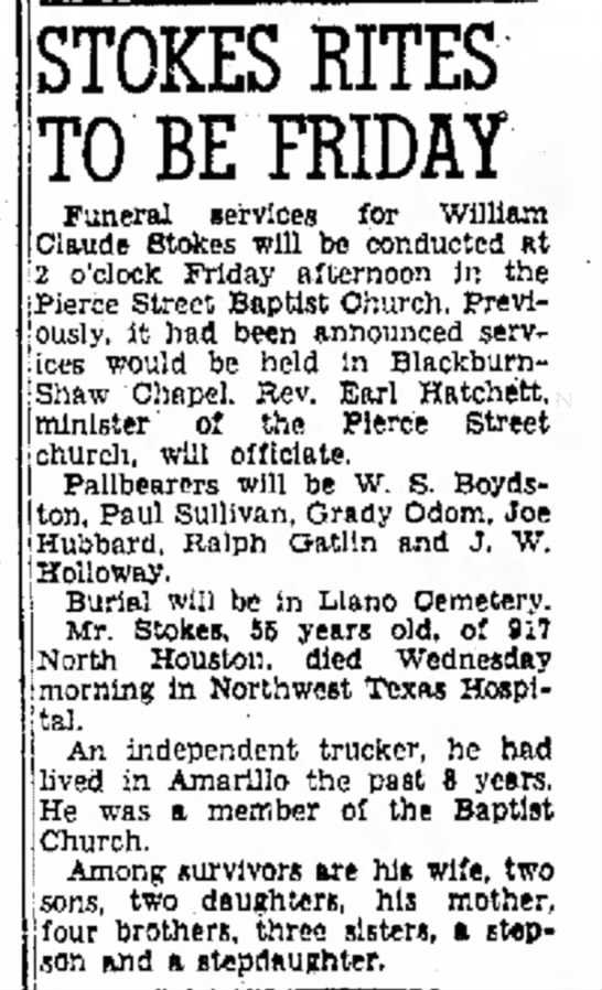 - STOKES RITES TO BE FRIDAY Funeral iervices for...