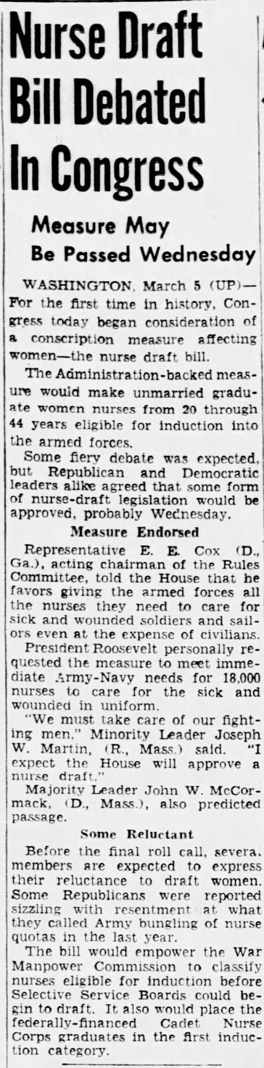 The Pittsburgh Press 3/5/45 - Nurse Draft Bill Debated In Congress Measure...