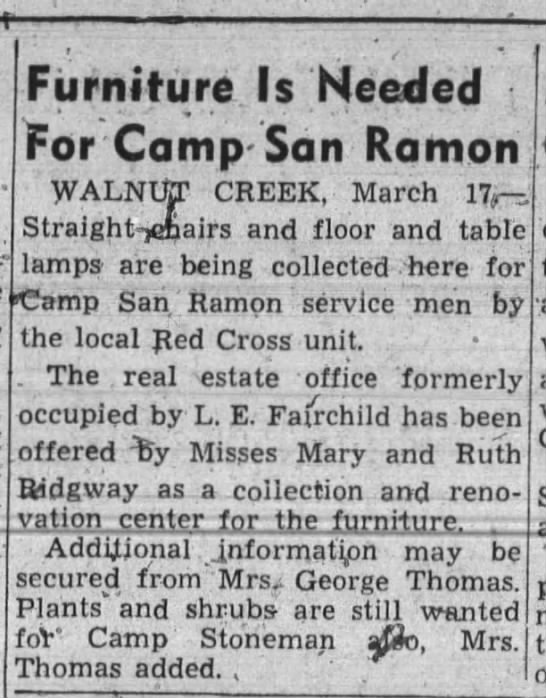 Furniture Needed at Camp San Ramon, March 1943 - 1 Furniture Is Needed For Camp- Camp- San Ramon...
