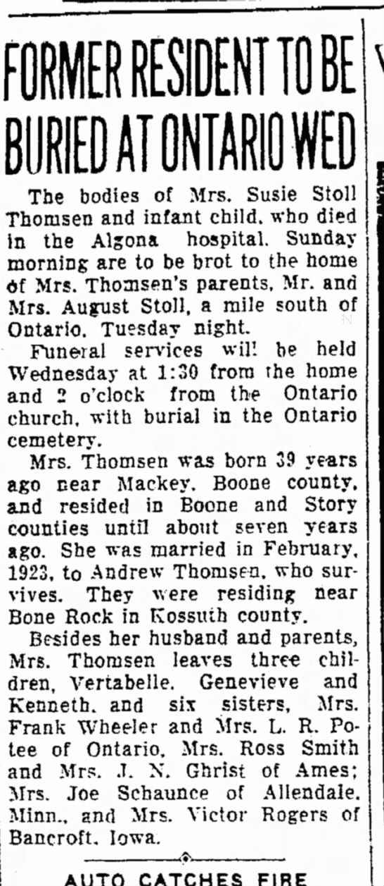Susie Stoll ThomsenOct. 15, 1934 Ames Tribune - IE The bodies of Mrs. Susie Stoll Thomsen and...