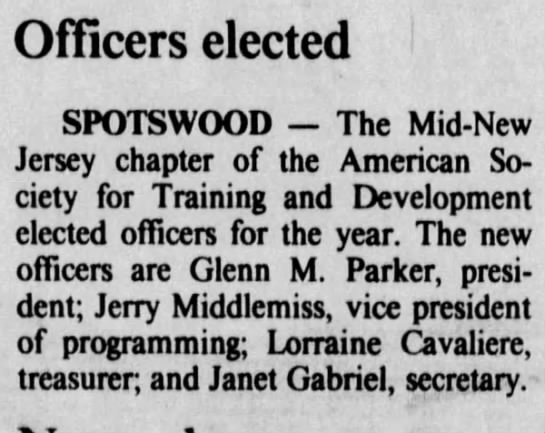 Janet Gabriel is new officer - Officers elected SPOTS WOOD The Mid-New Mid-New...
