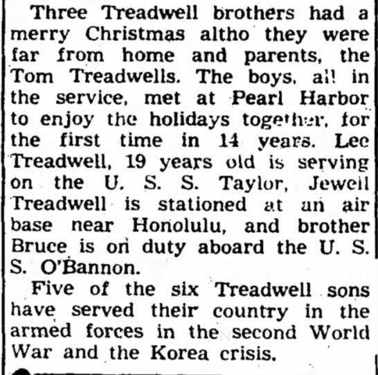 - Three Treadwell brothers had a merry Christmas...