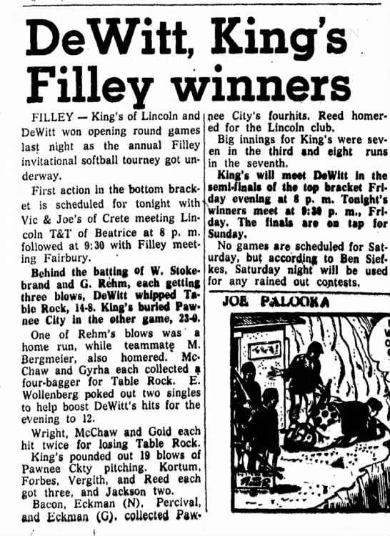 Percival of Pawnee Baseball 10 Jul 57 - DeWitt, King's Filley winners FILLEY — King's...