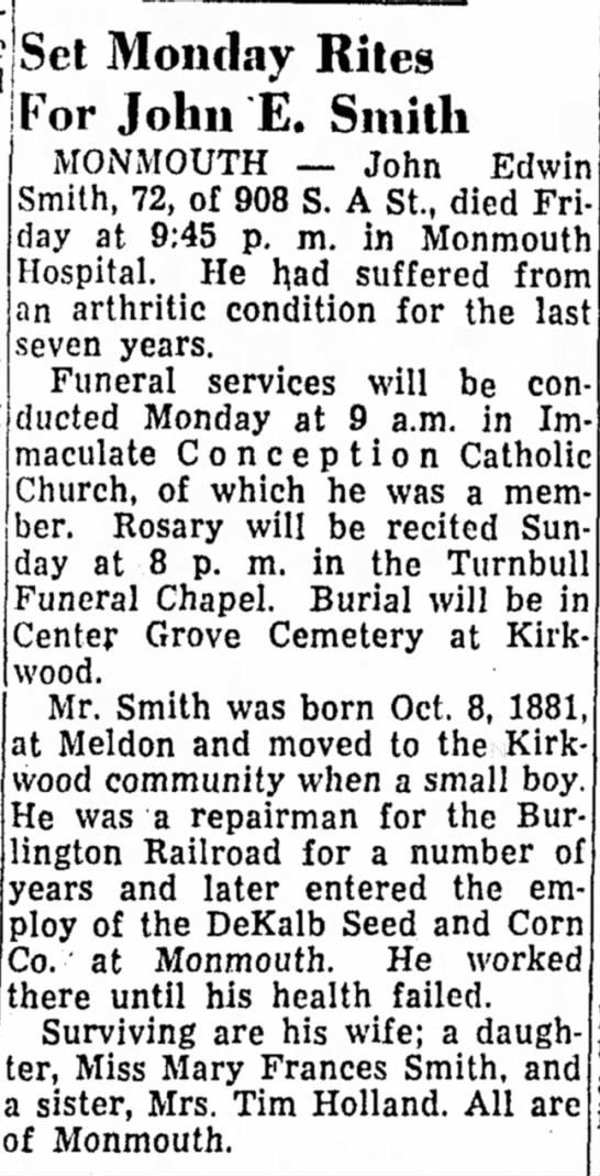 - Edwin Set Monday Rites For John E. Smith...