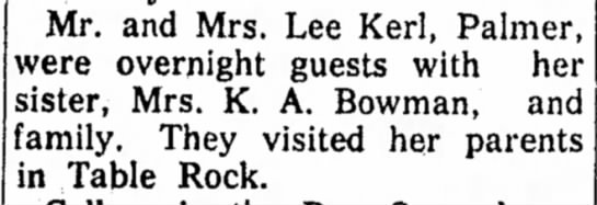 Kerl, Lee Visit 18 Jul 1957 Beatrice Daily Sun - Mr. and Mrs. Lee Kerl, Palmer, vere overnight...