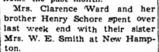 - Mrs. Clarence 'Ward and her brother Henry...