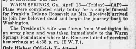 Eleanor Roosevelt travels to Warm Springs following FDR's death
