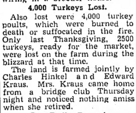 4,000 Turkeys Lost C. Hinkel and Edward Kraus - 4,000 Turkeys Lost. Also lost were 4,000 turkey...