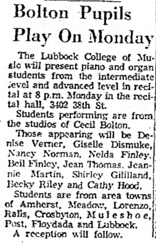 AJ May 28, 1967 - Pupils Play On Monday The Lubbock College of...
