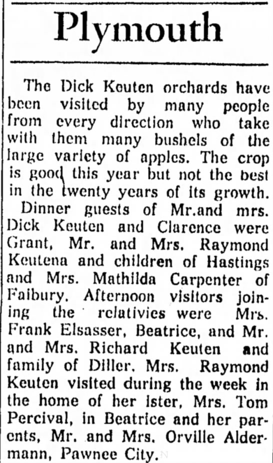 Percival, Norma visiting 9 Oct 1957 - Plymouth The Dick Kouten orchards hav been...