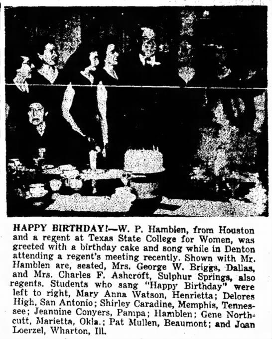 8 Dec 1949 - HAPPY BIRTHDAY!—W. P. Hamblen, from Houston and...