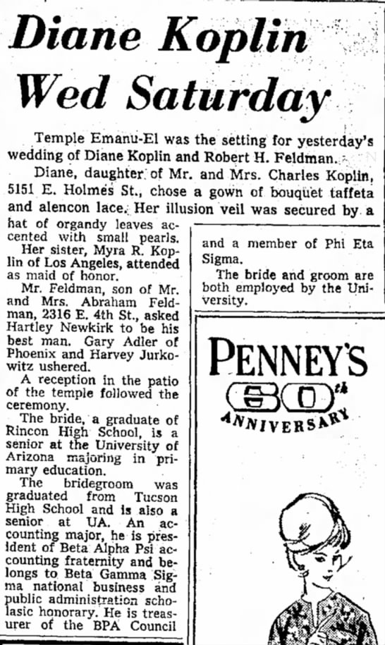 Diane's Wedding Notice - and a member of Phi Eta Sigma. The bride and...