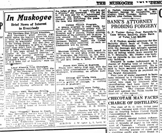 Iford Younger, Business visitor to Milton, OK, Muskogee County Democrat, May 27, 1920 - TOE MUSKOGEE In Muskogee Brief News of Interest...