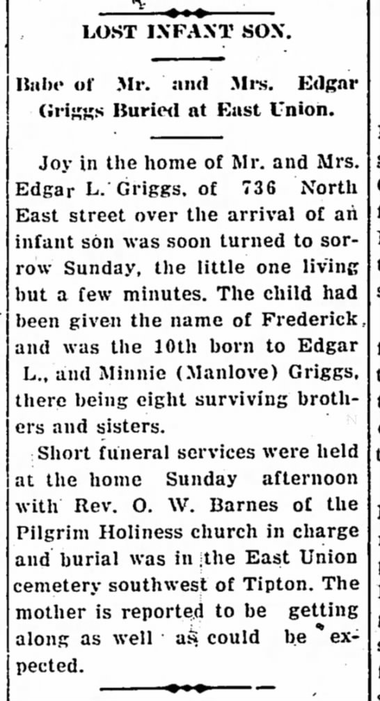 Edgar Griggs lost infant. - LOST IX FA XT SOX. Babe of Mr. and Mrs. Edgar...