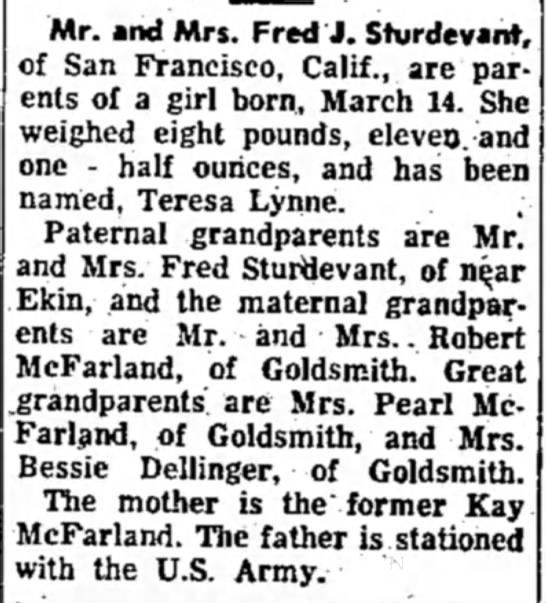 Tipton TribuneTipton, Indiana10 April 1961Page 3 - Mr. and Mrs. Fred J. Shirdevant, of San...