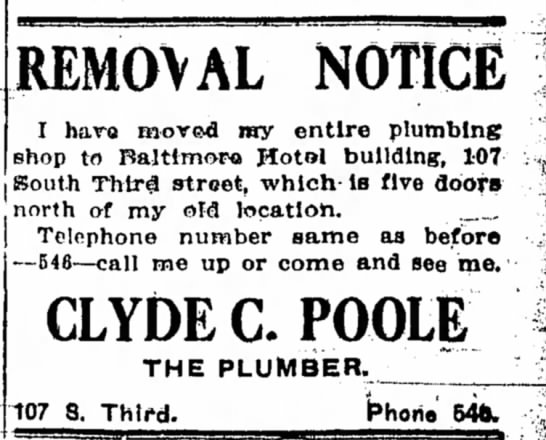 Clyde Poole 2 - REMOVAL NOTICE I have moved my entire plumbing...