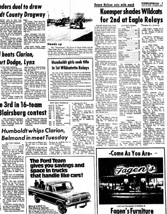 April 19, 1972 Eagle Relays set mile record as a senior along with 880 record as a junior - onders duel fo draw County Drogwcy quarter mile...