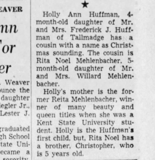 Holly birth announcement ABJ - WEAVER Weaver the daughter Riegler Jr., Lester...