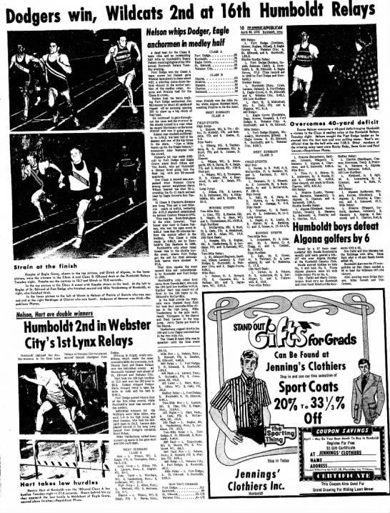 April 26, 1972 Humboldt Relays and Webster Relays - Dodgers win, Wildcats 2nd at 16th Humboldt...