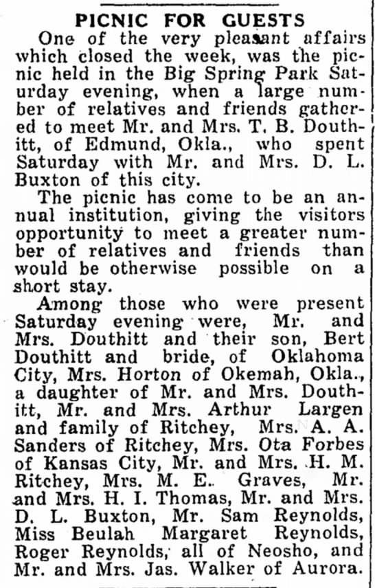 Mr and Mrs T B Douthitt, Mr and Mrs Douthitt and son, Bert Douthitt