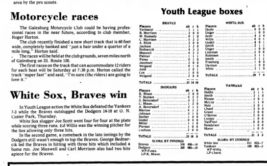 Baseball - area by the pro scouts. Motorcycle races The...