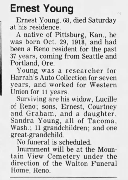 EBY Obit 1987 - Ernest Young Ernest Young, 68, died Saturday at...
