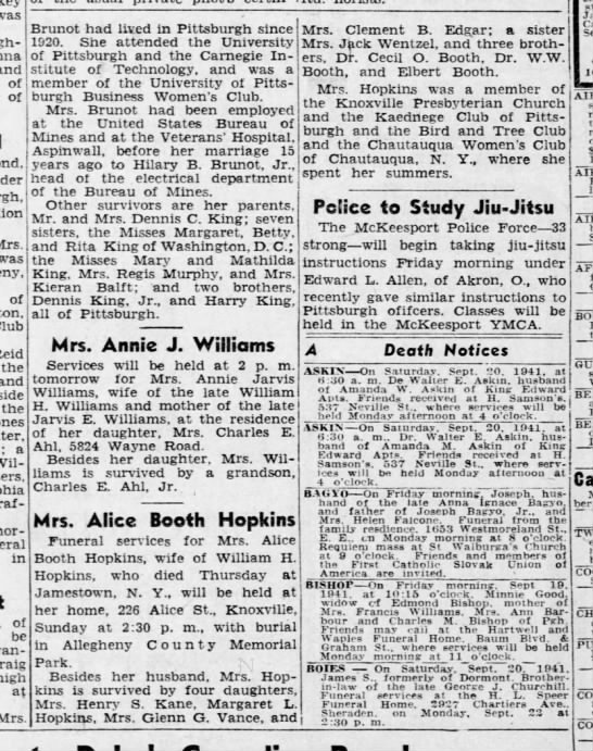 Alice Booth Hopkins obituary - was and of of Mrs. was of Club Reid the and the...