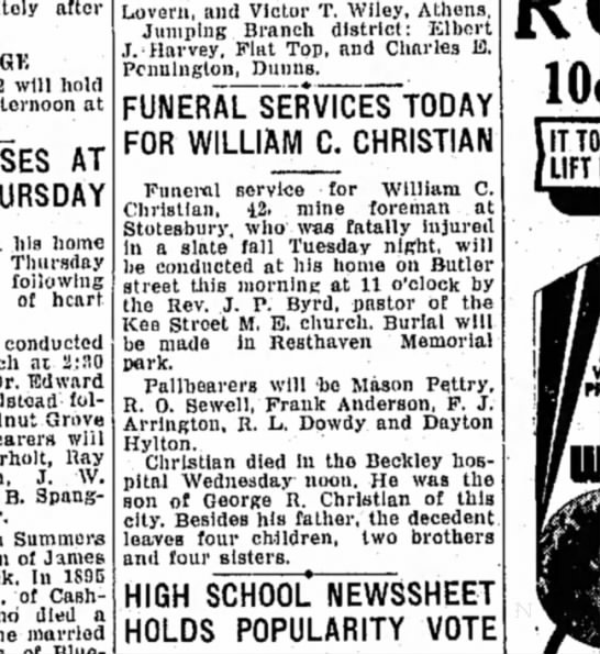 William C Christian, 1934 dies - after will hold afternoon at AT THURSDAY his...