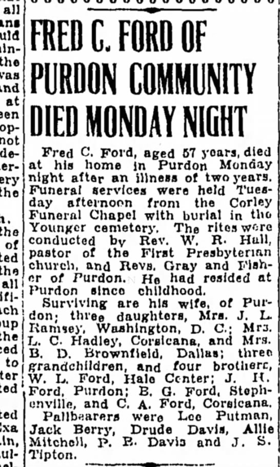 Fred C Ford obit - all the at declared the the of the alii the to...
