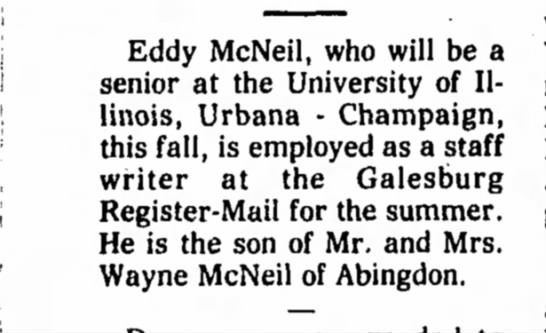 Eddy McNeil graduation - Eddy McNeil, who will be a senior at the...