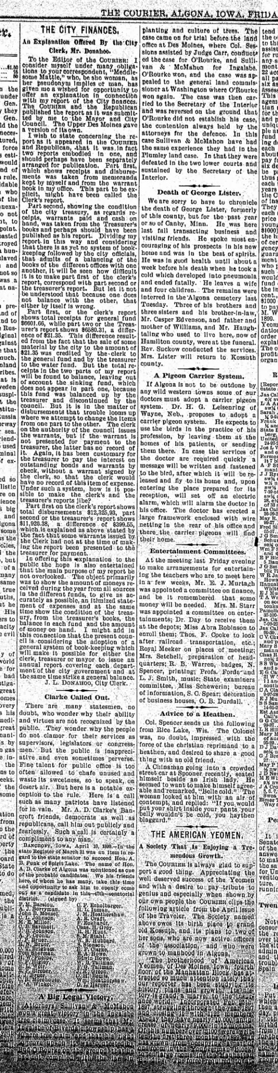 21 april 1899 algona courier