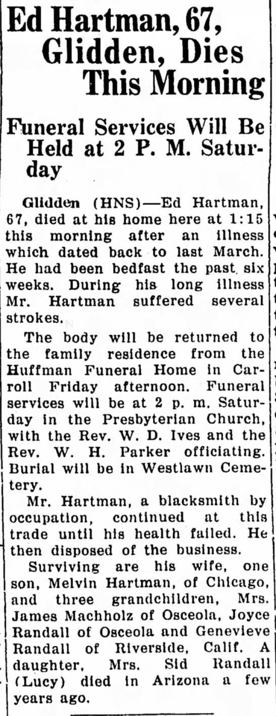 - Ed Hartman, 67, Glidden, Dies This Morning...