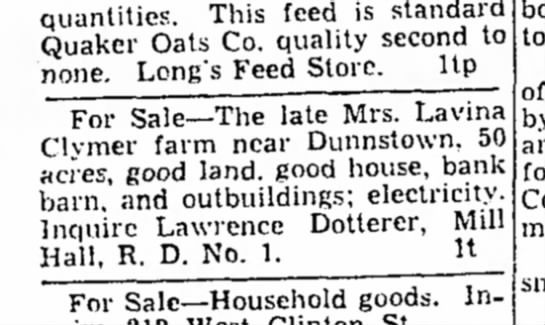 Clymer farm sale  8 March 1940 - quantities. This feed is stand; Quaker Oats Co....