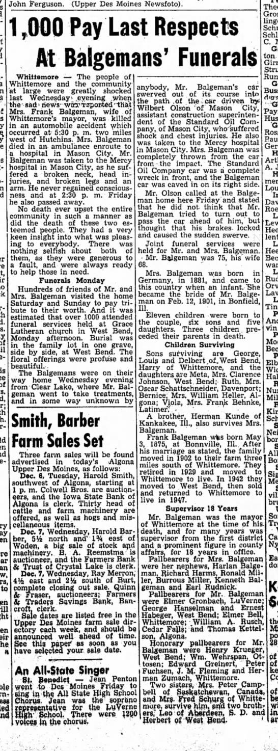Mrs FJ Balgeman dies - John Ferguson. (Upper Des Moines Newsfoto)....