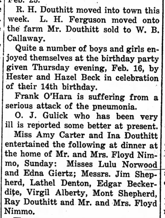 R. H. Douthitt, Ina Douthitt, Ray Douthitt Mar. 4, 1920 - R. H. Douthitt moved into town this week. L. H....