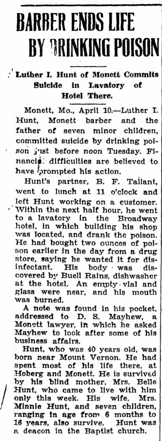 Joplin Globe11 April 1929 - BARBER ENDS LIFE BY UNKING POISON Luther I....