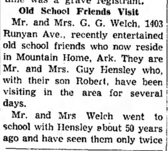 School friends visit G. G. Welch part 1 - Old School Friends Visit Mr. and Mrs. G. G....